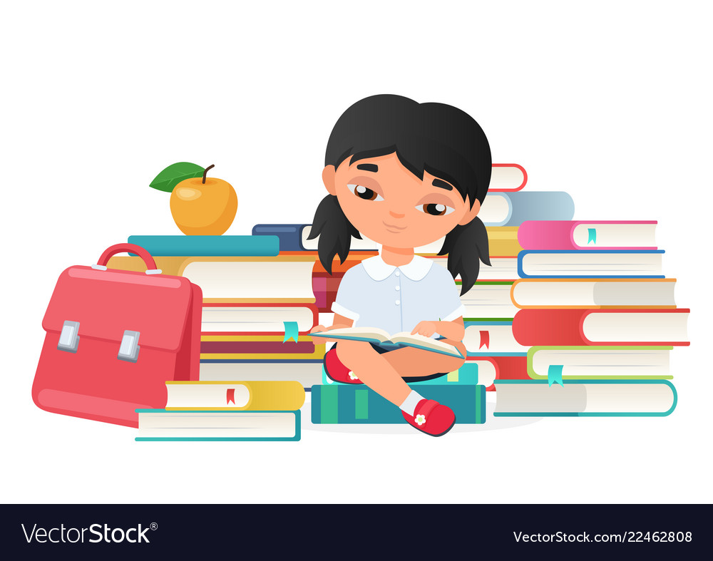 Cute little girl reading a books isolated
