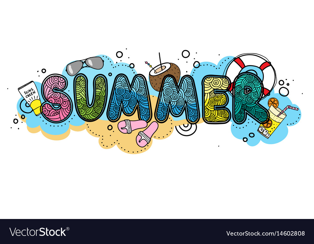 Hand drawn summer time typographic on vector image