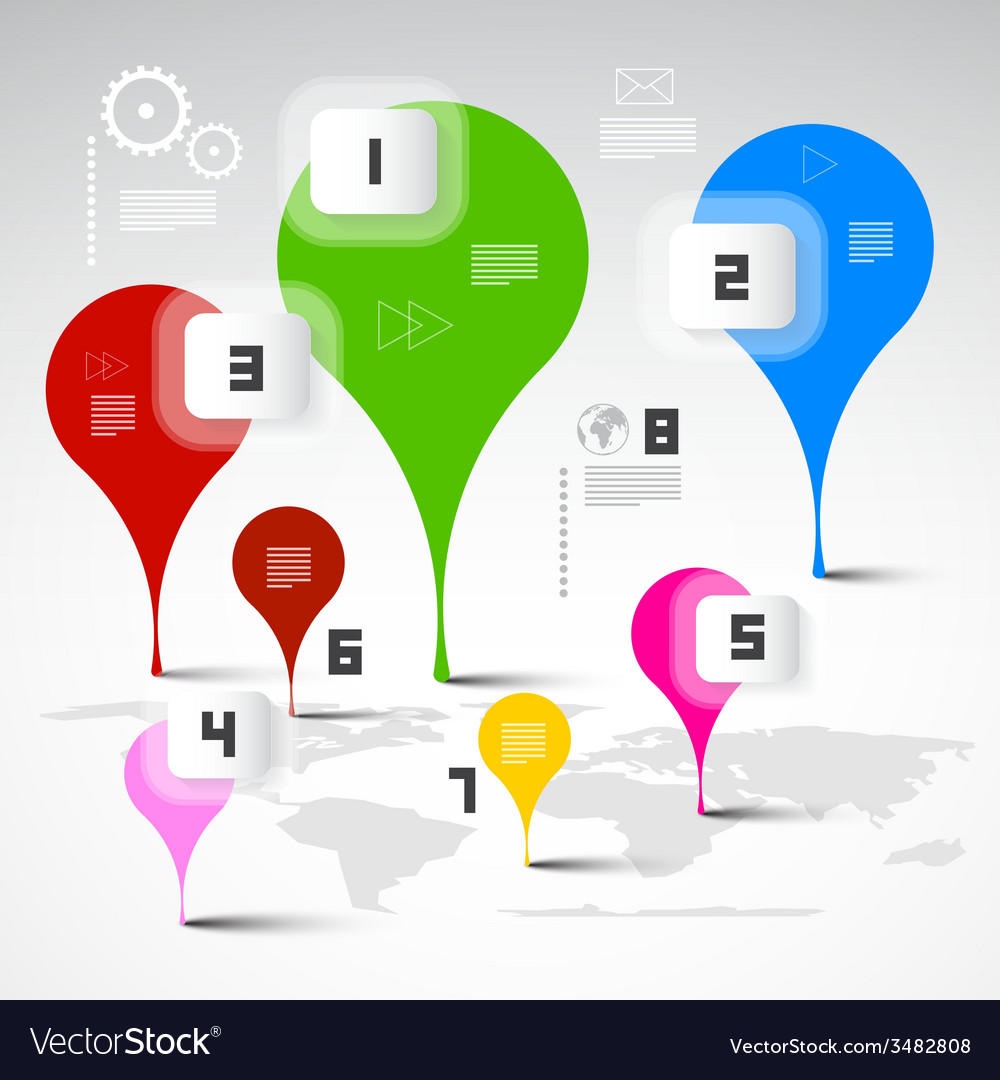 Infographics Layout with World Map vector image