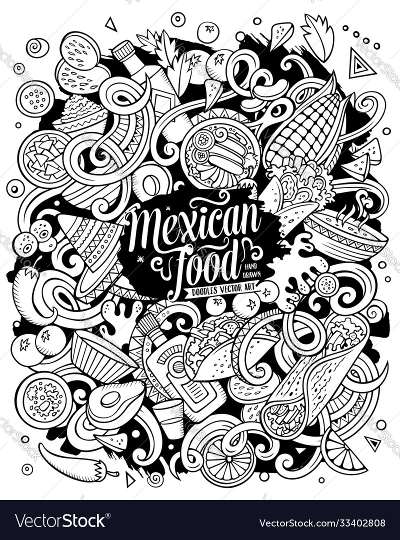 Mexican food hand drawn doodles