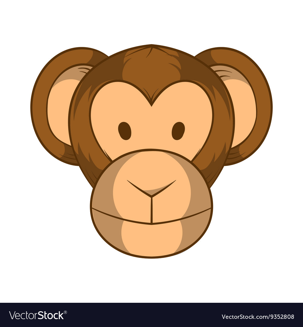 Monkey head icon cartoon style