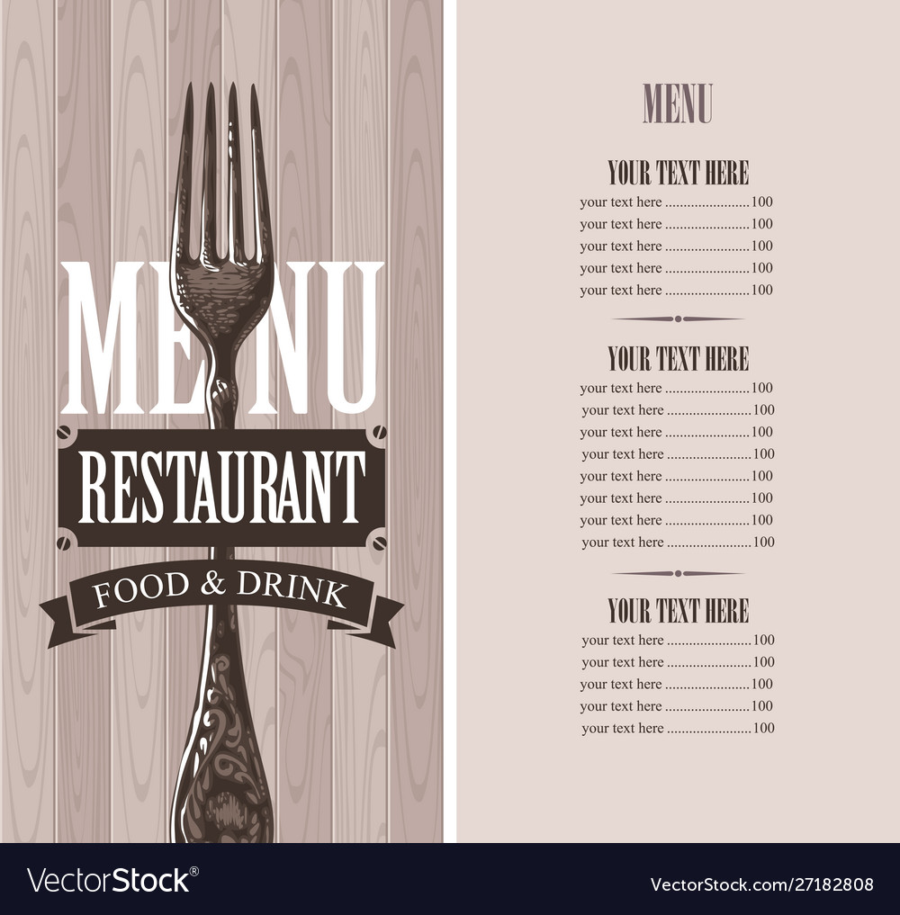 Restaurant menu with price list and realistic fork