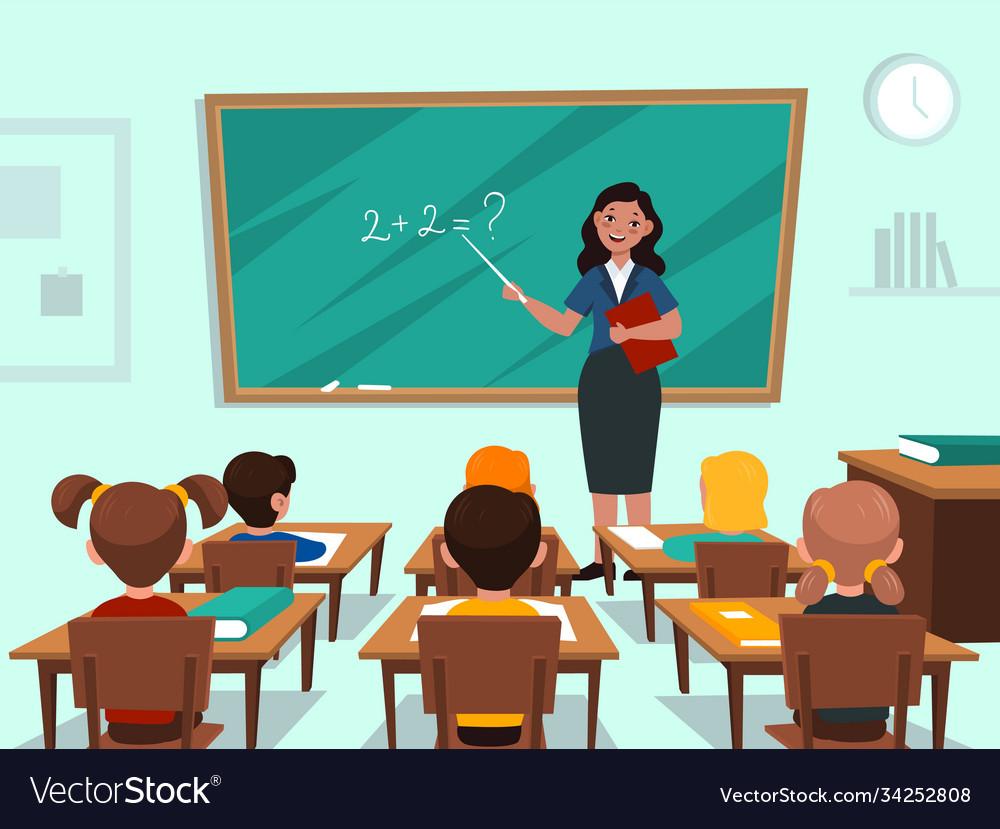 Students in classroom teacher near blackboard