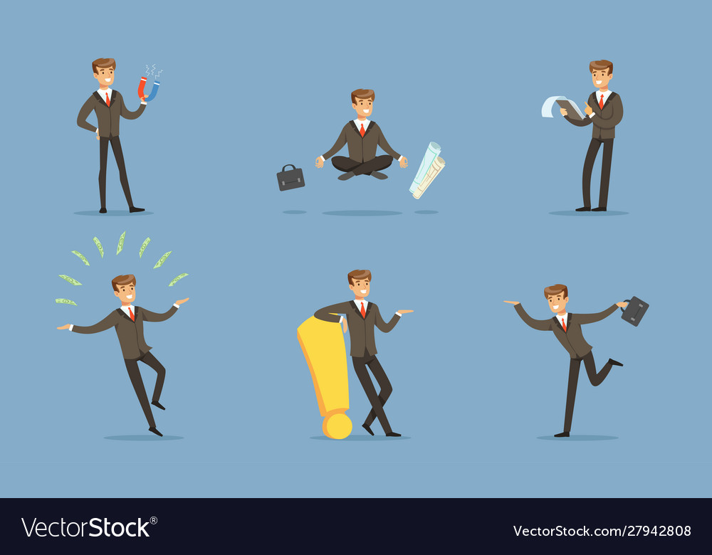Successful manager in a business suit doing the