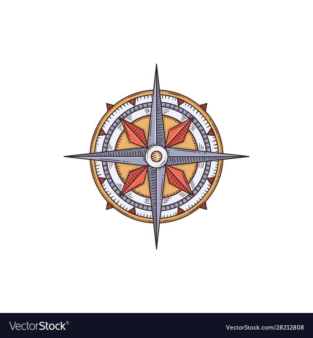 Vintage engraved nautical compass cartoon sketch