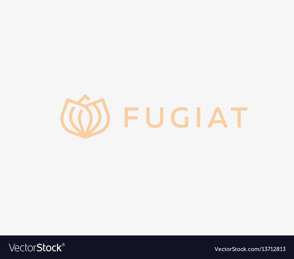 Abstract flower logo icon design elegant crown