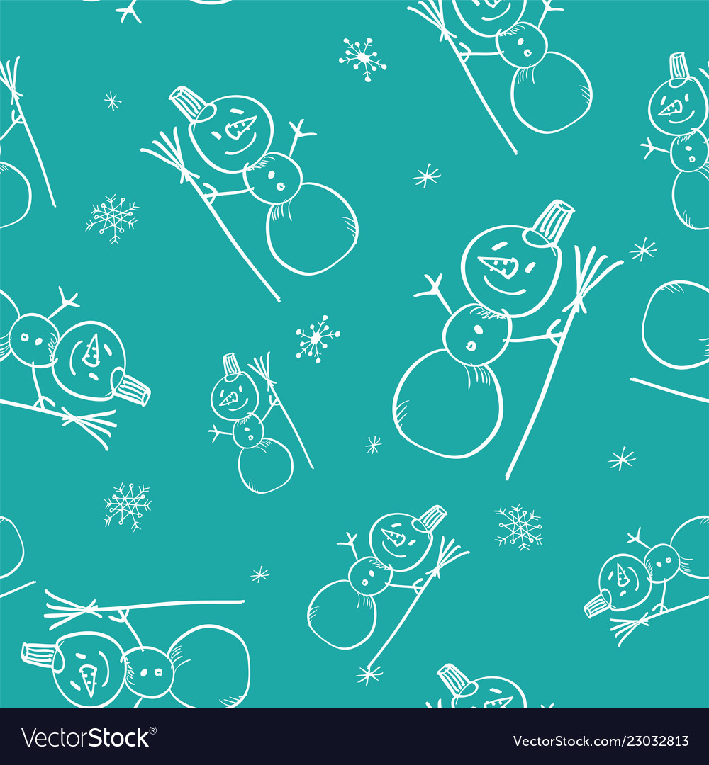 Christmas doodle seamless pattern with hand drawn