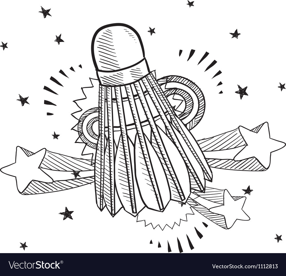 Doodle pop shuttlecock vector image