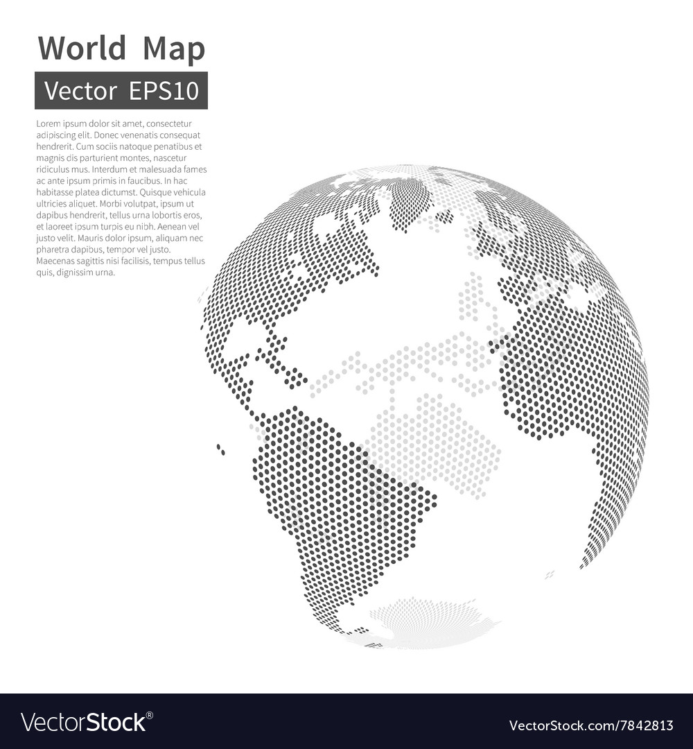 Dotted World Map Background Earth Globe vector image
