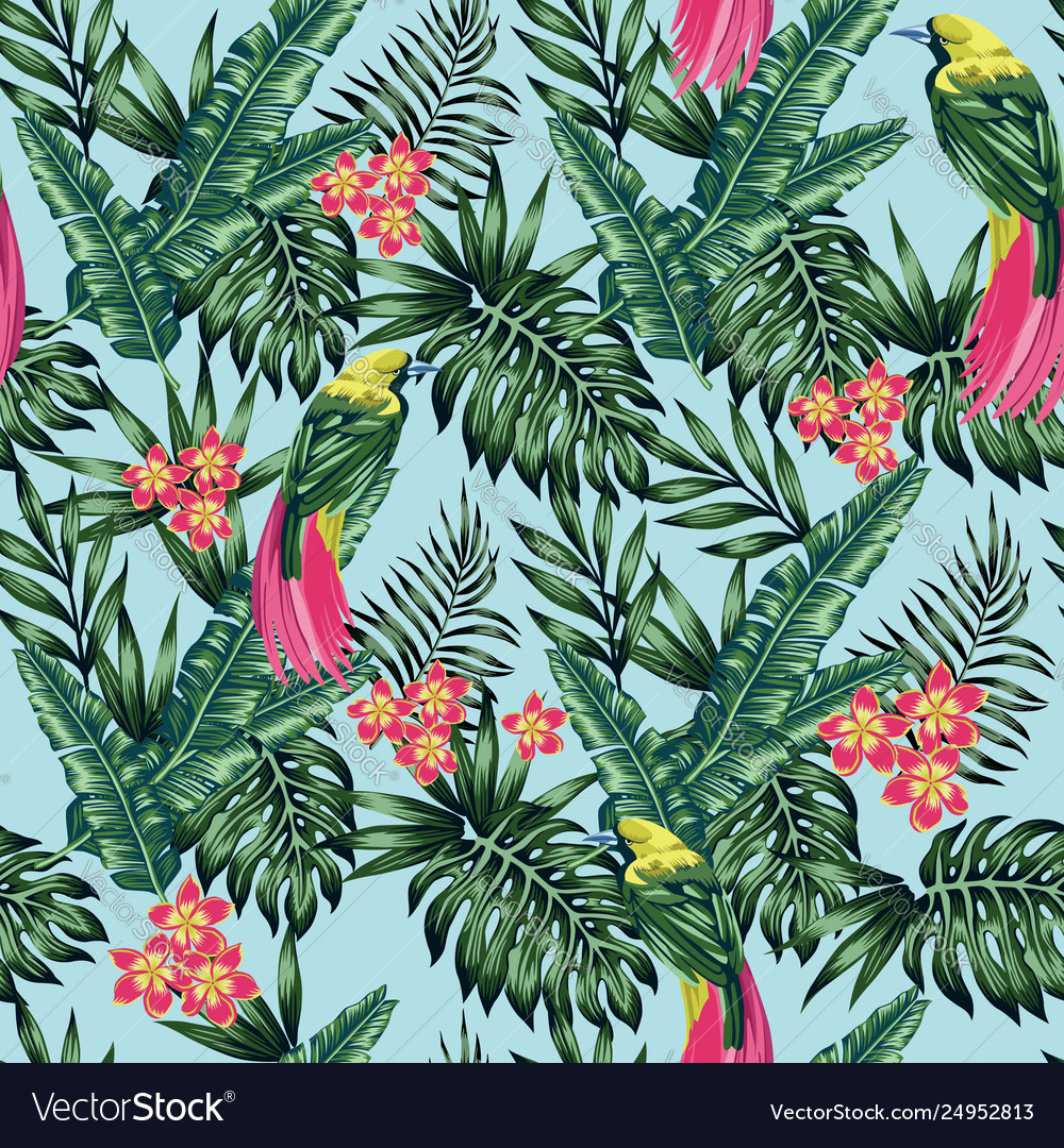 Exotic birds jungle flowers and leaves blue