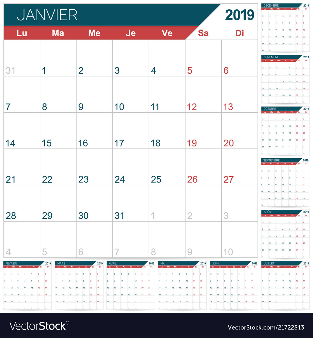 French Calendar 2019 Royalty Free Vector Image