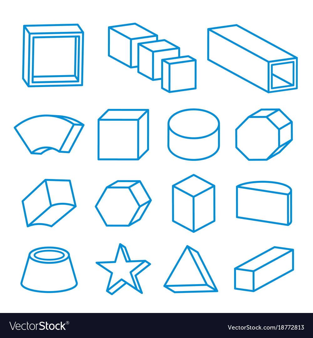 Geometric Shape Platonic Solid Icon Line Vector Image