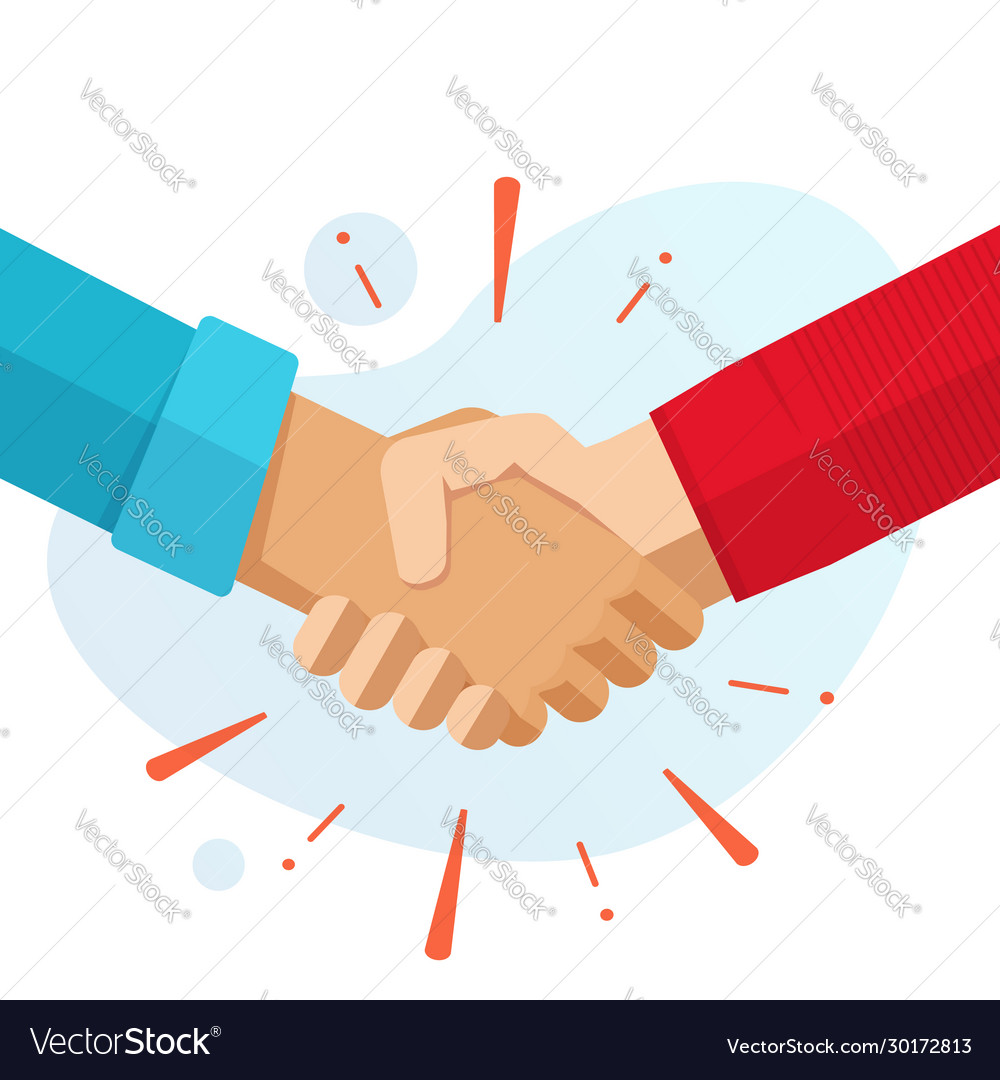 Hand shake hands or handshake flat cartoon