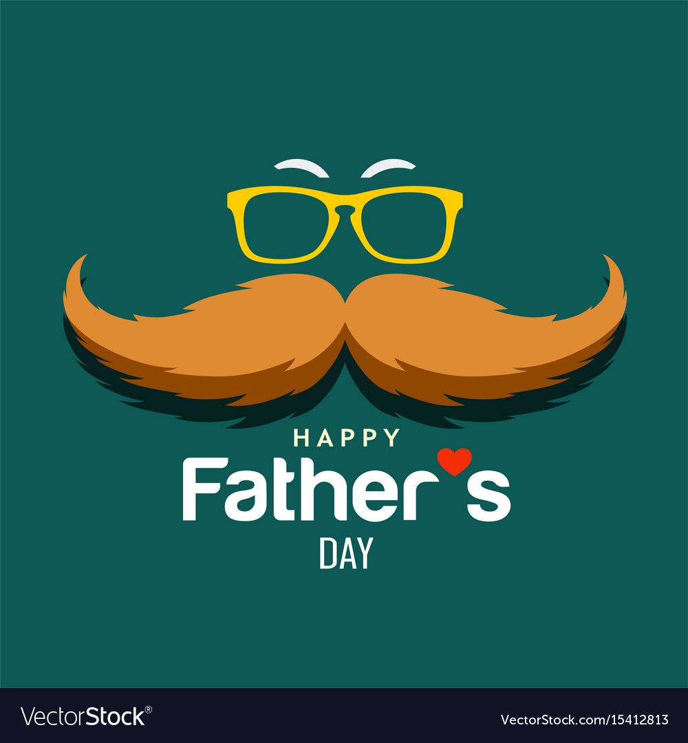 Happy father day brown mustache design