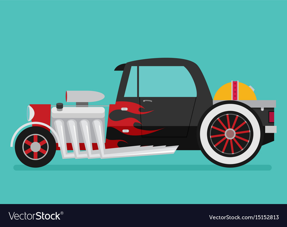 Hotrod flat old school race car Royalty Free Vector Image