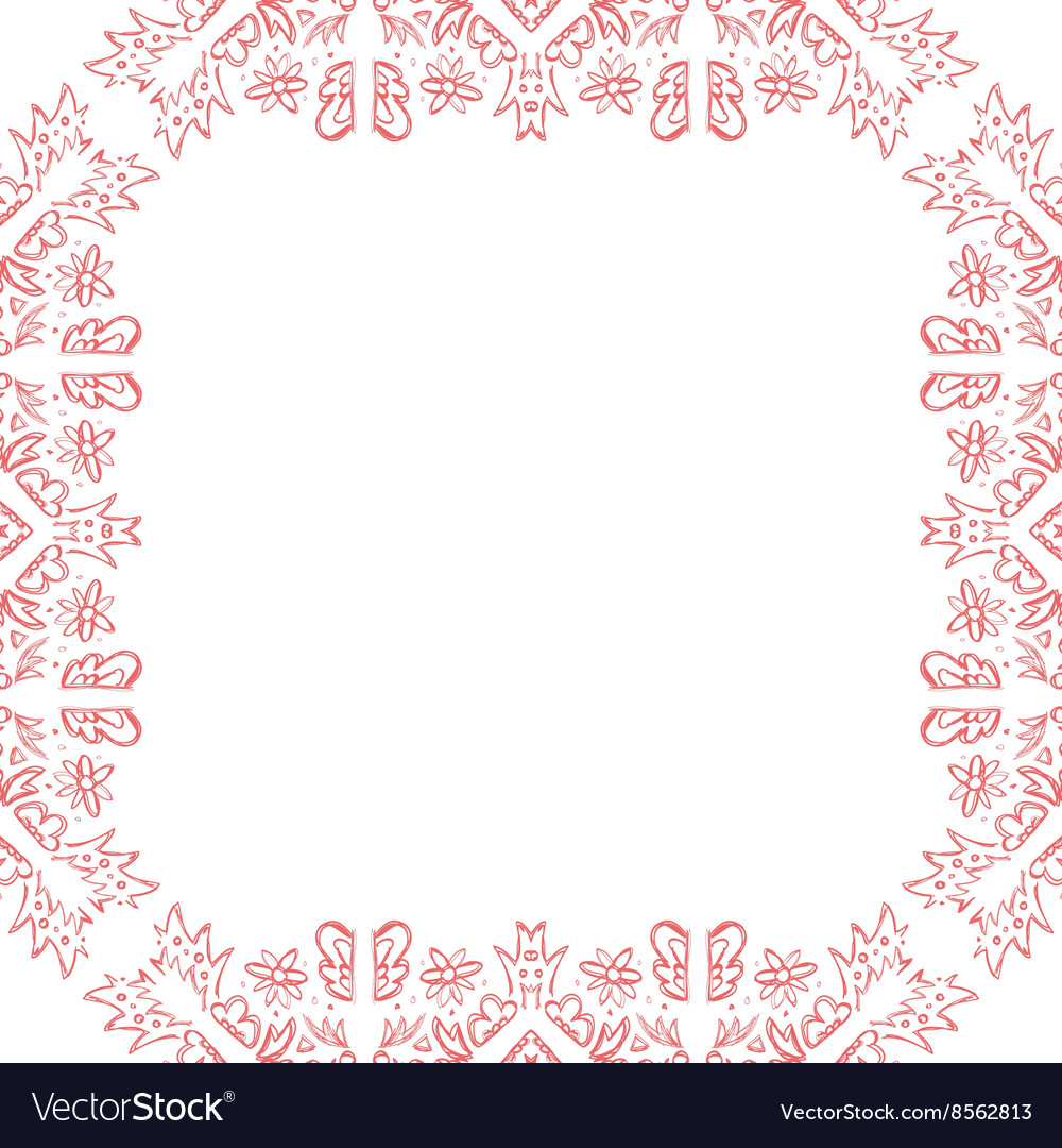 Invitation wedding card with pink sketch frame vector image stopboris Images