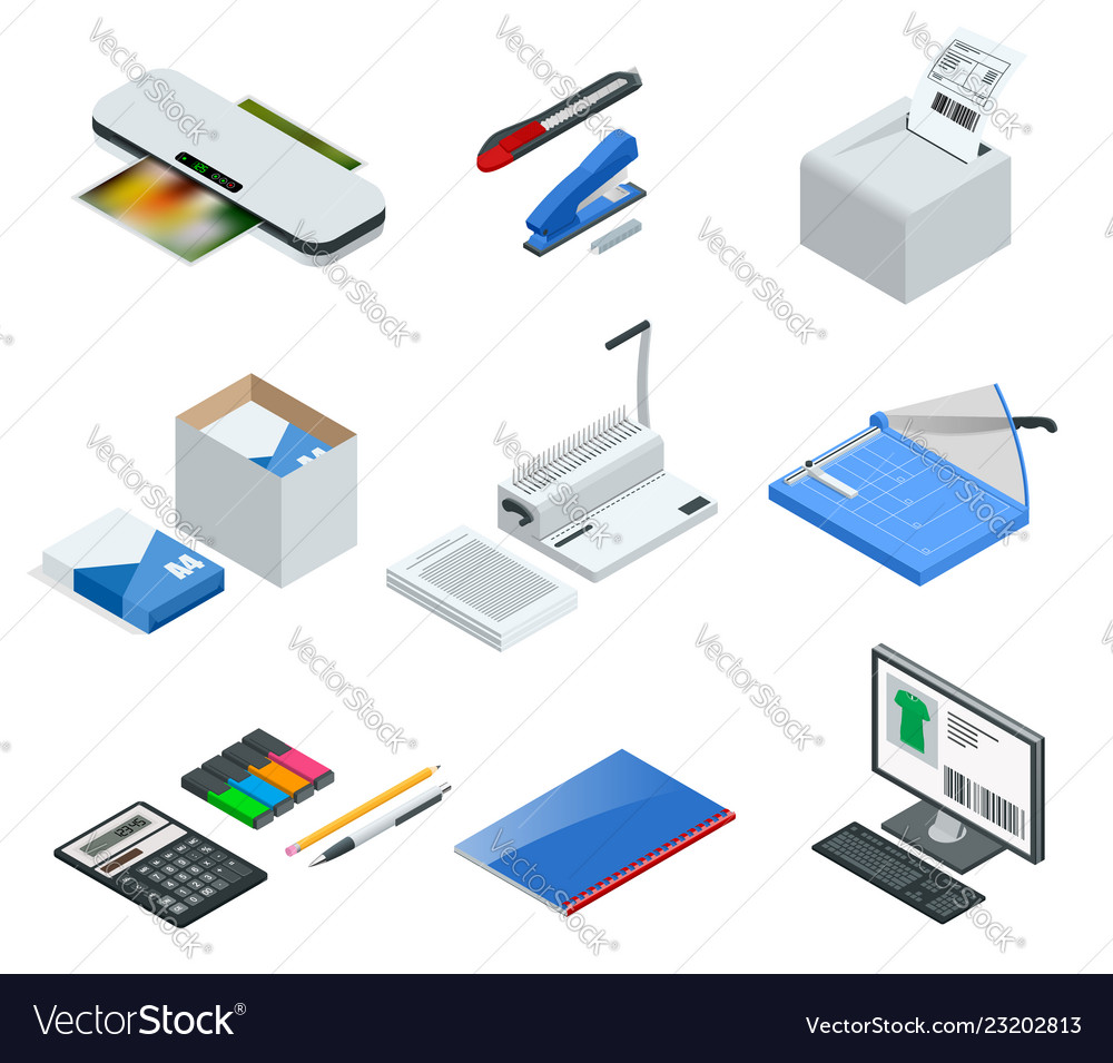 Isometric set of office tools icons