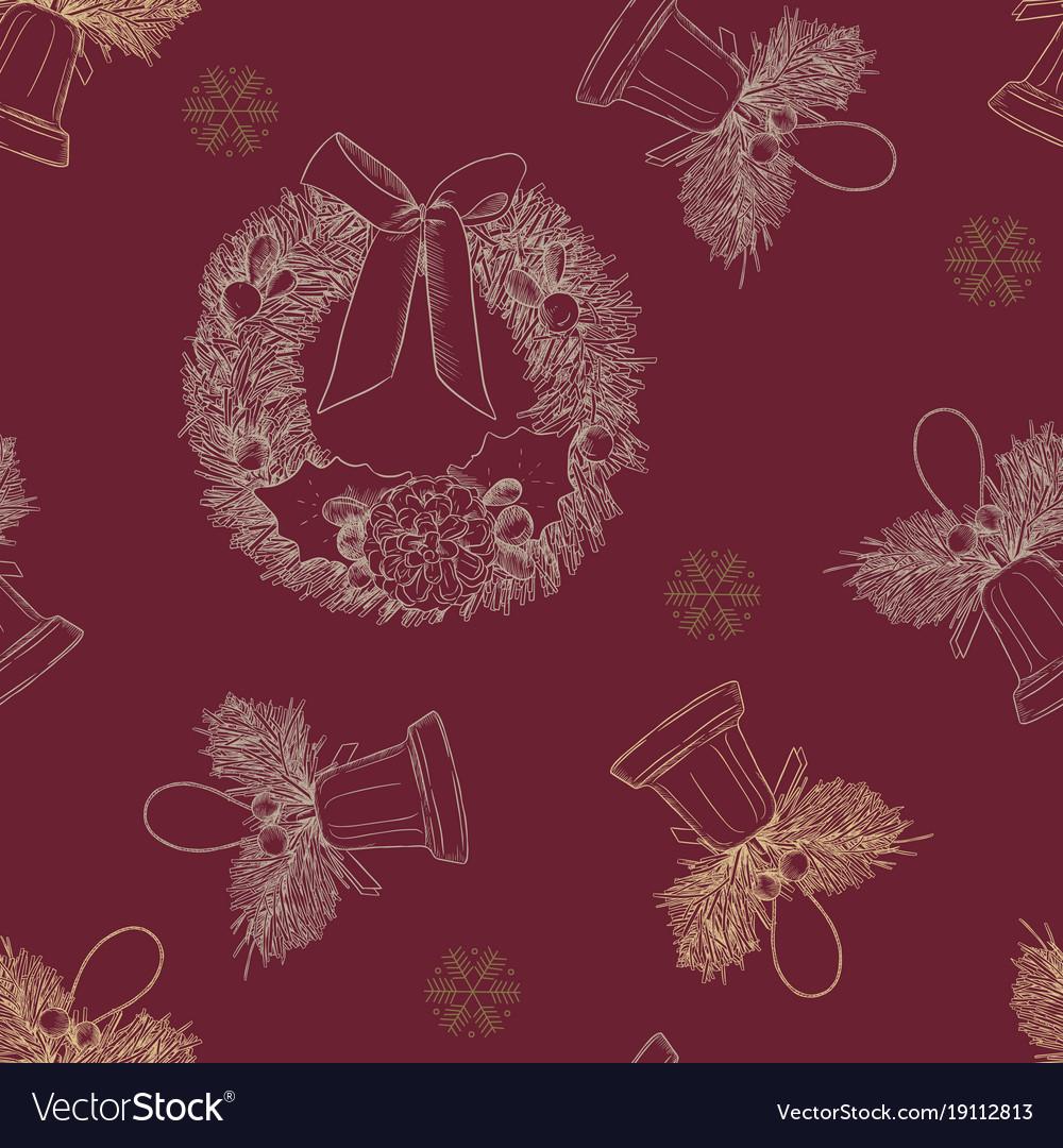 Merry cristmast seamless pattern hand draw