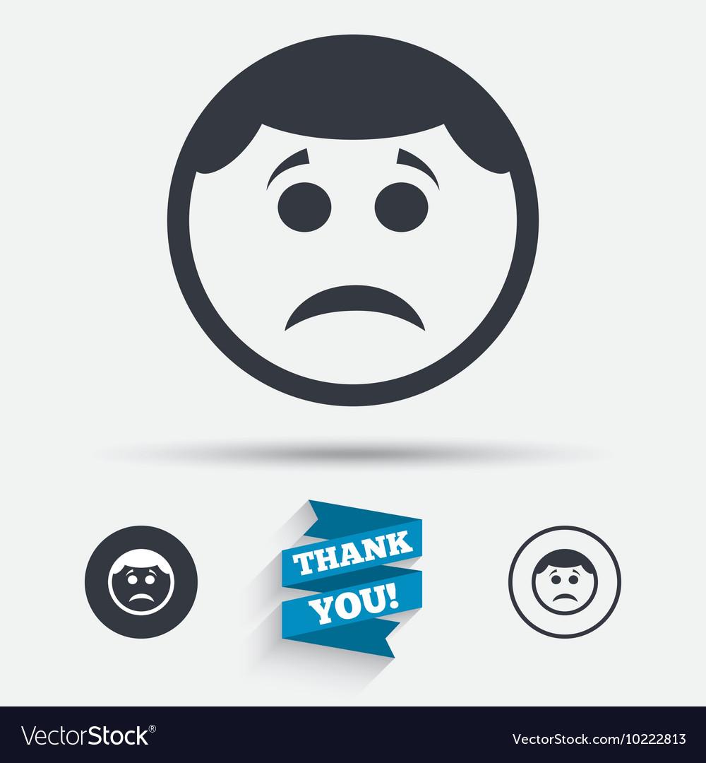 Sad Face Sign Icon Sadness Symbol Royalty Free Vector Image