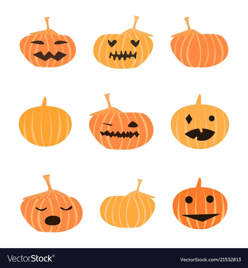 Halloween Pumpkin Vector Art.Set Of Halloween Cute Pumpkins