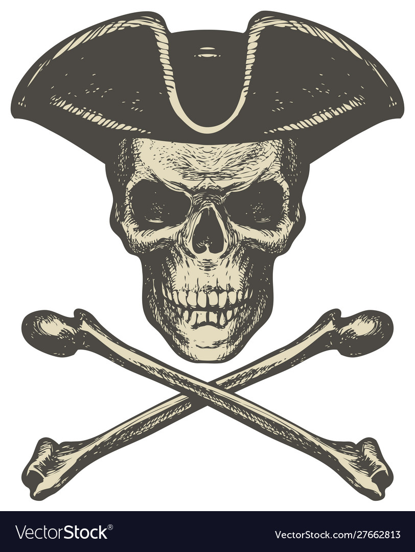 Skull in cocked hat and crossbones pirate symbol