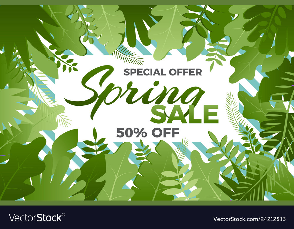 Spring sale banner with leafs