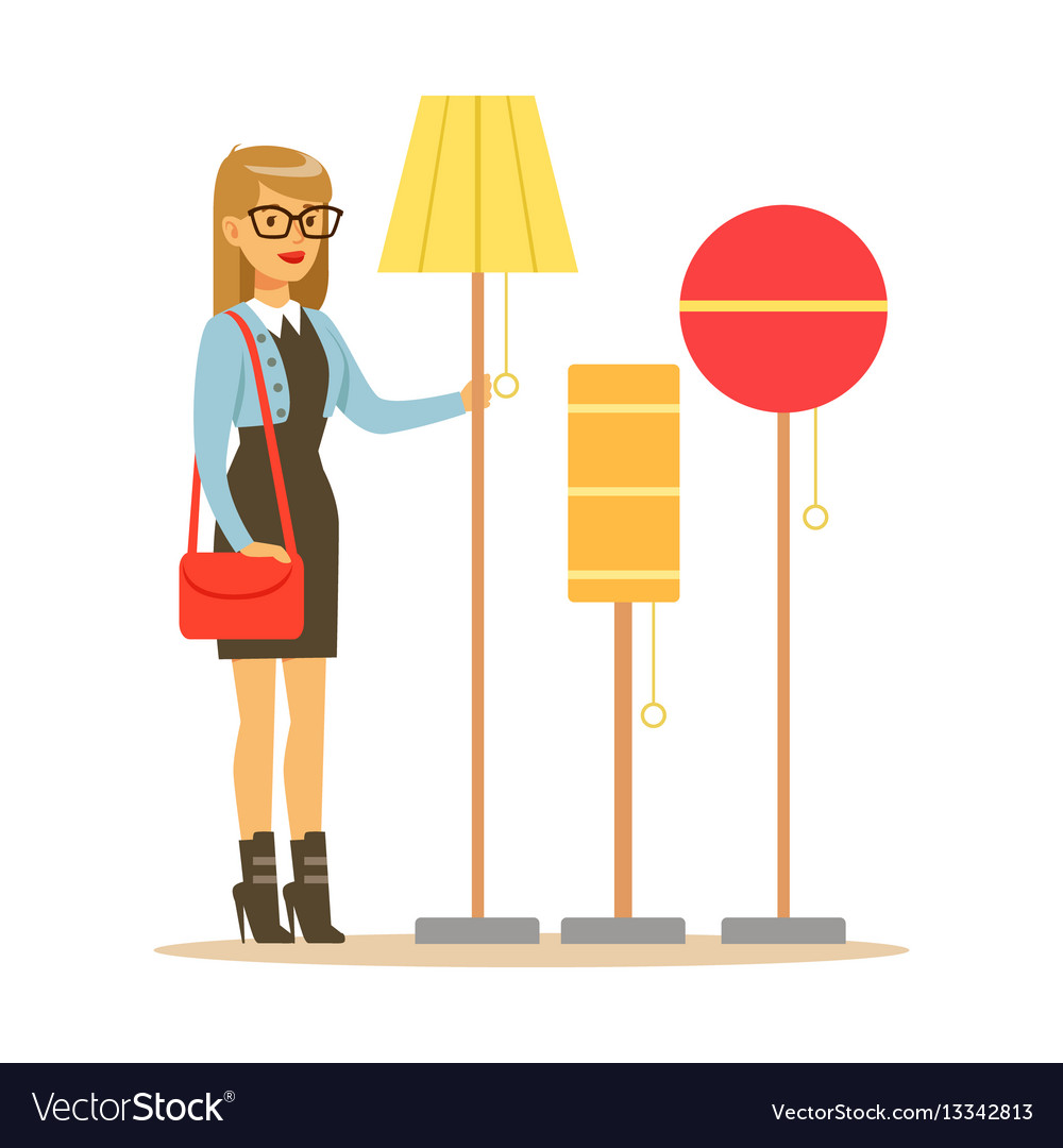 Woman choosing a living room lamp smiling shopper vector image