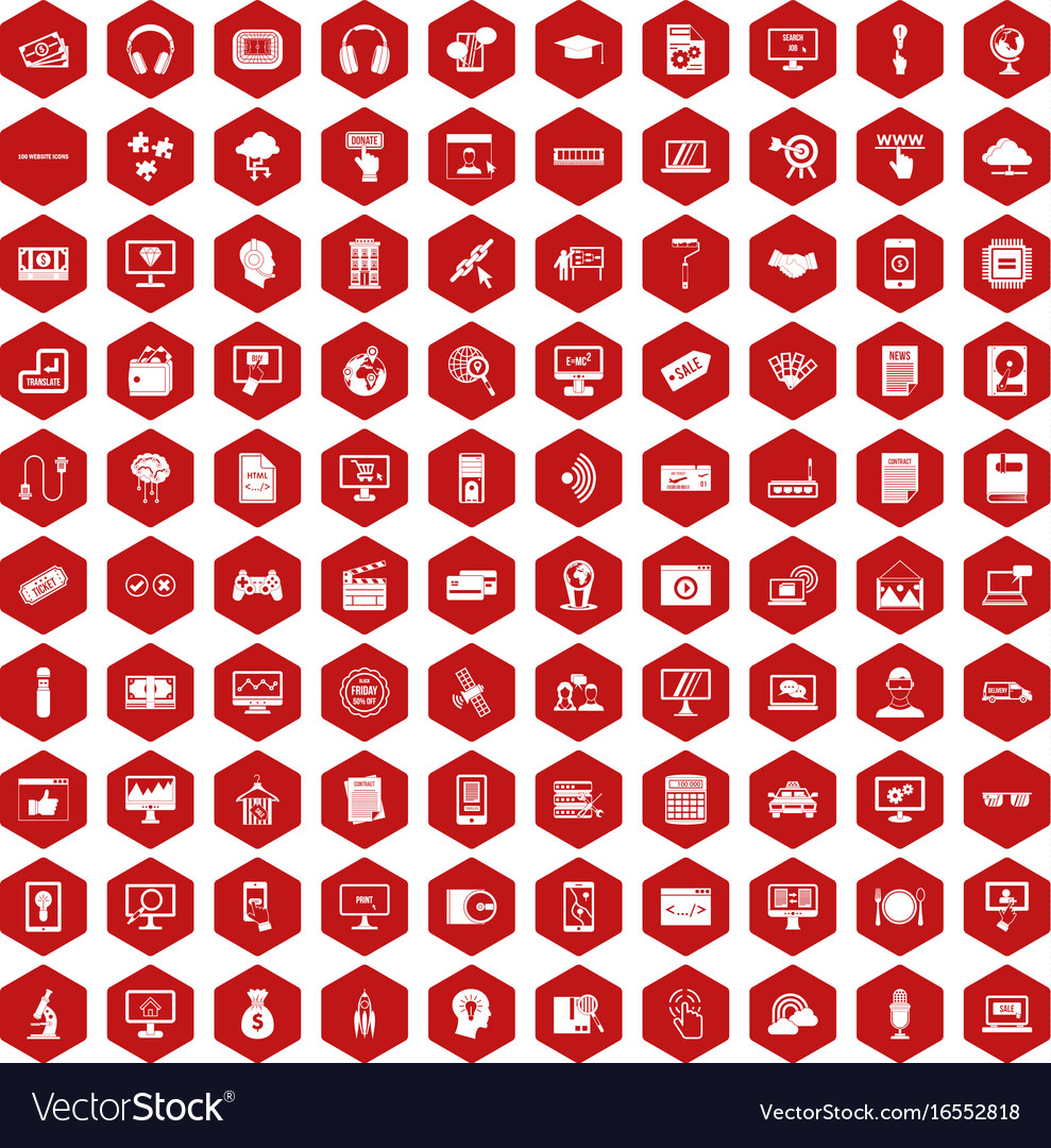 100 website icons hexagon red