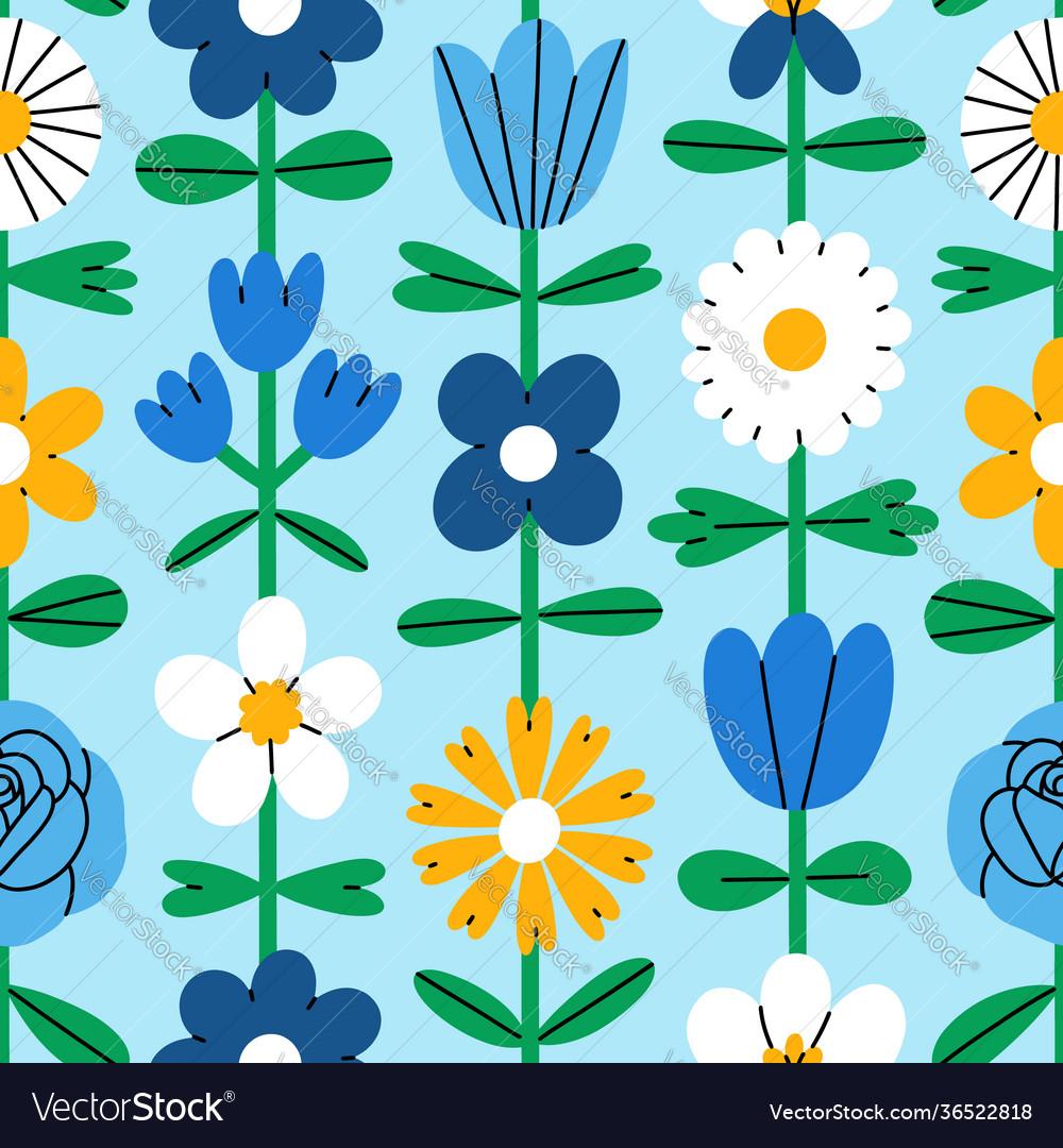 Abstract folk flowers seamless pattern