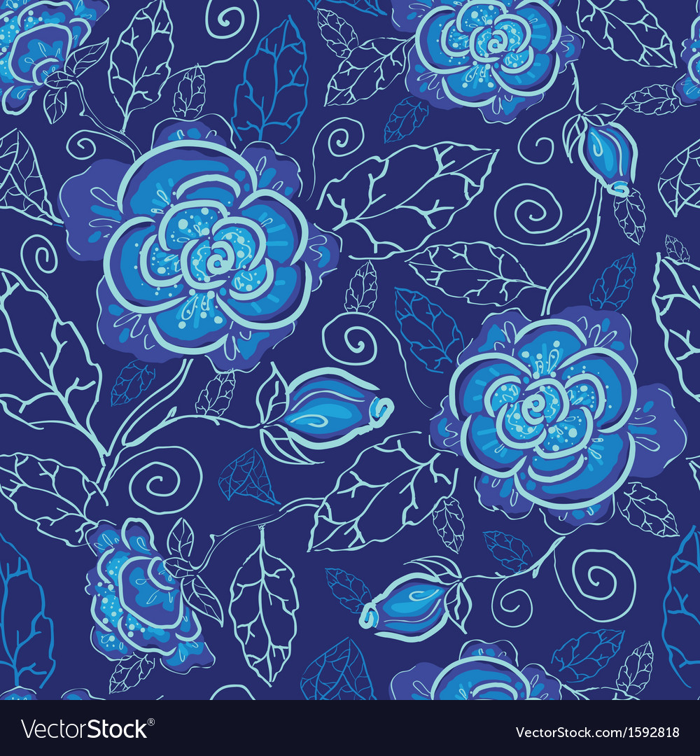 Blue night flowers seamless pattern background