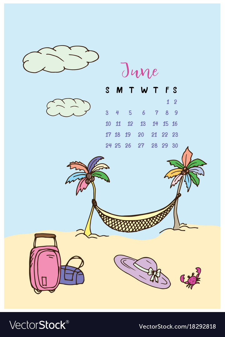 Calendar Month June 2018 Vacation Royalty Free Vector Image