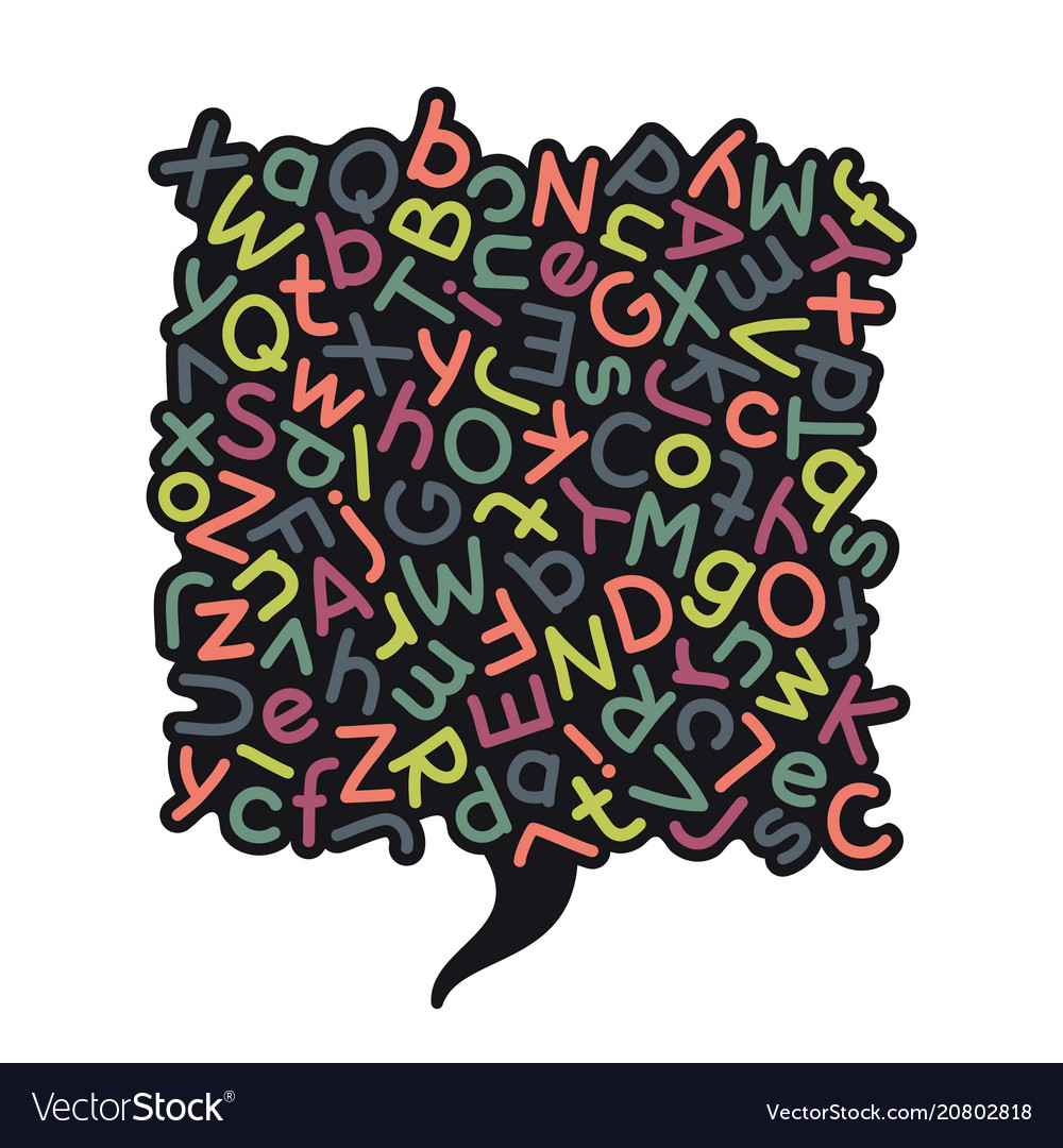 Colorful mixed alphabet speech bubble