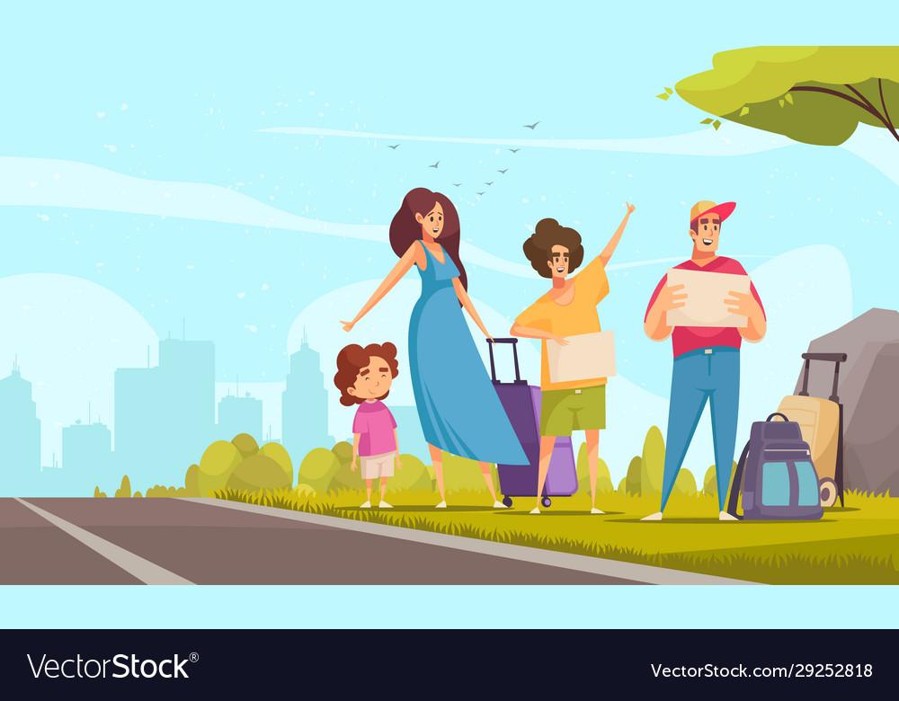 Hitchhiking family
