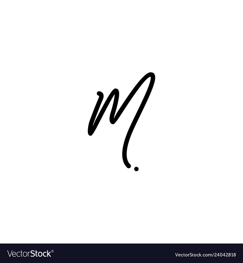 M letter signature handwriting logo vector image
