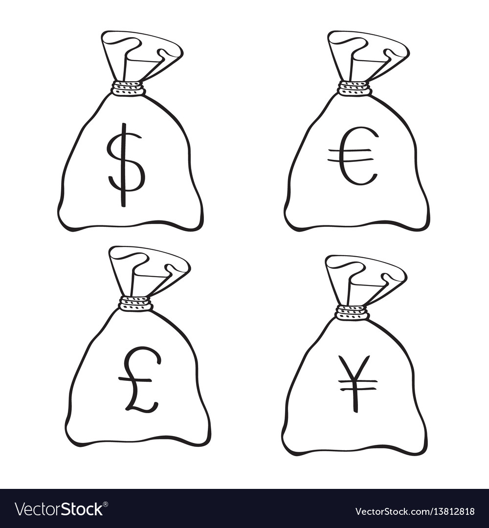 Money bags with currency symbols doodle style