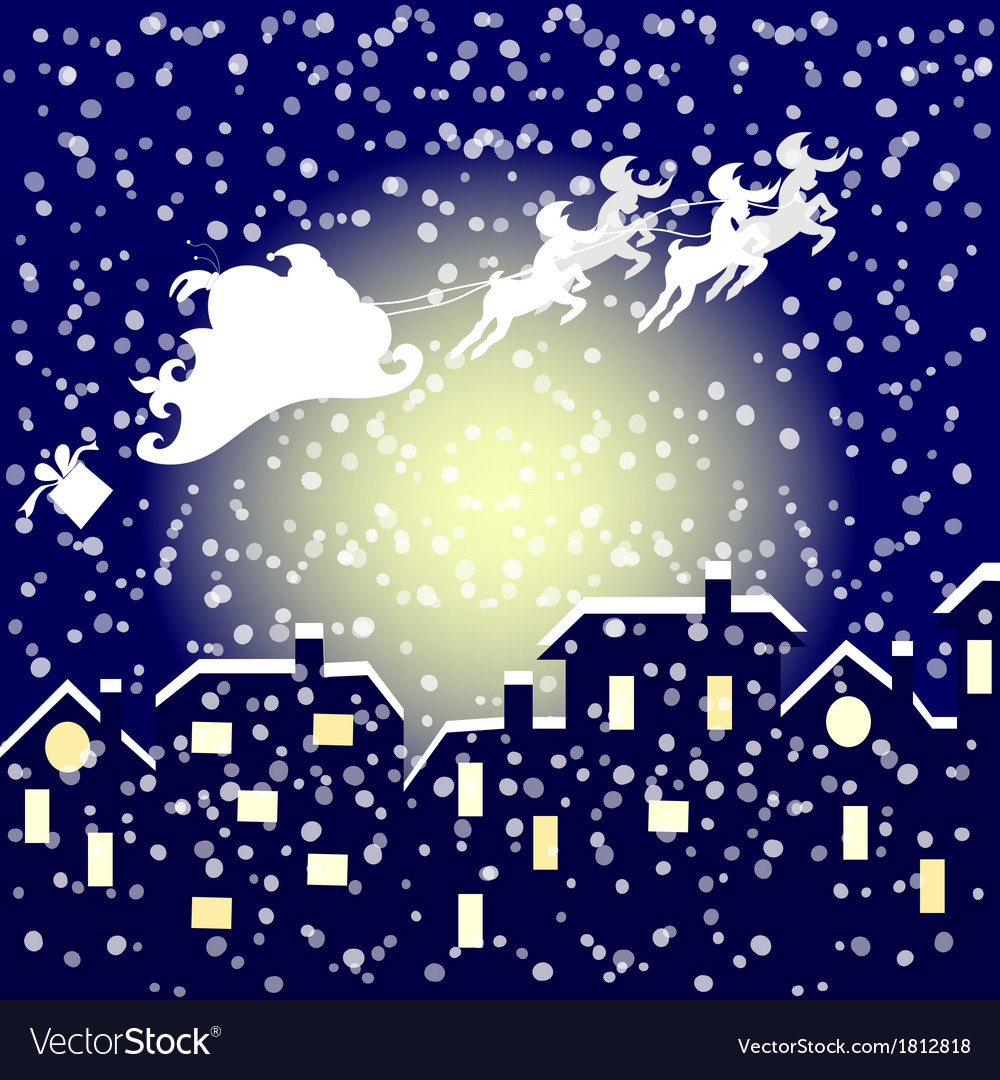 Santa In His Sleigh Flying Over The City