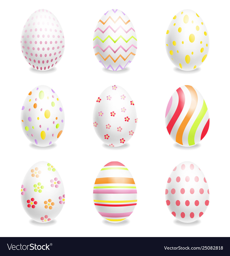 White easter eggs set with ornaments