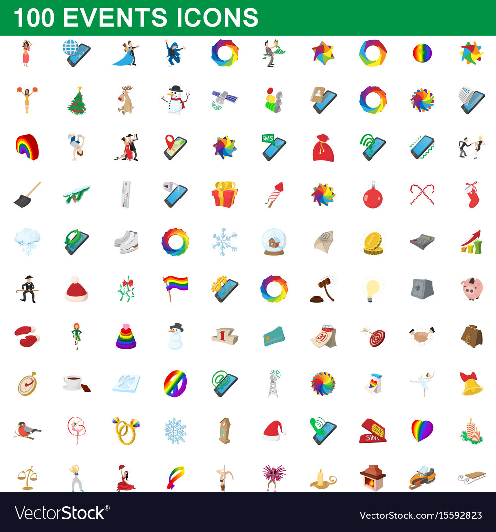 100 events icons set cartoon style