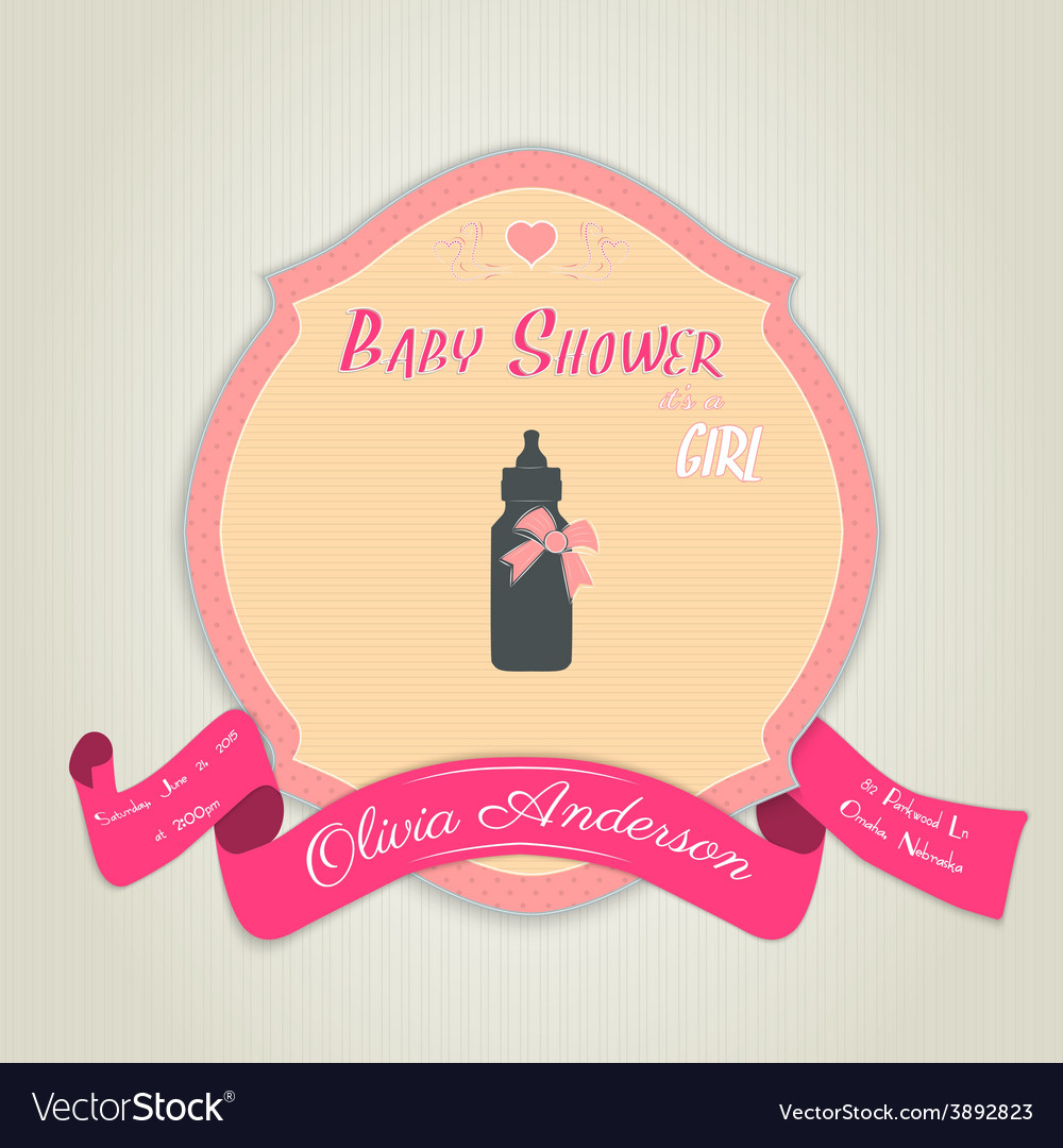 Baby shower invitation with baby milk bottle vector image filmwisefo