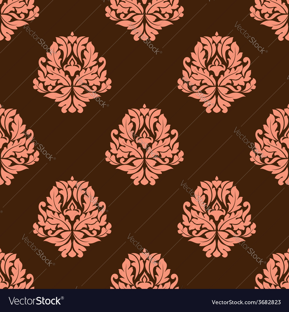 Baroque styled pink flowers in seamless pattern