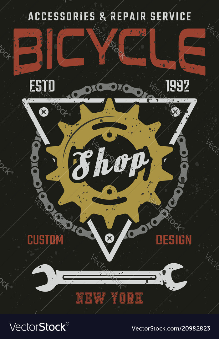 Bicycle shop and repair service vintage poster