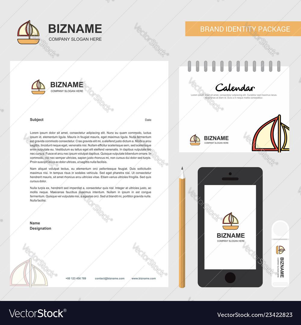 Boat business letterhead calendar 2019 and mobile