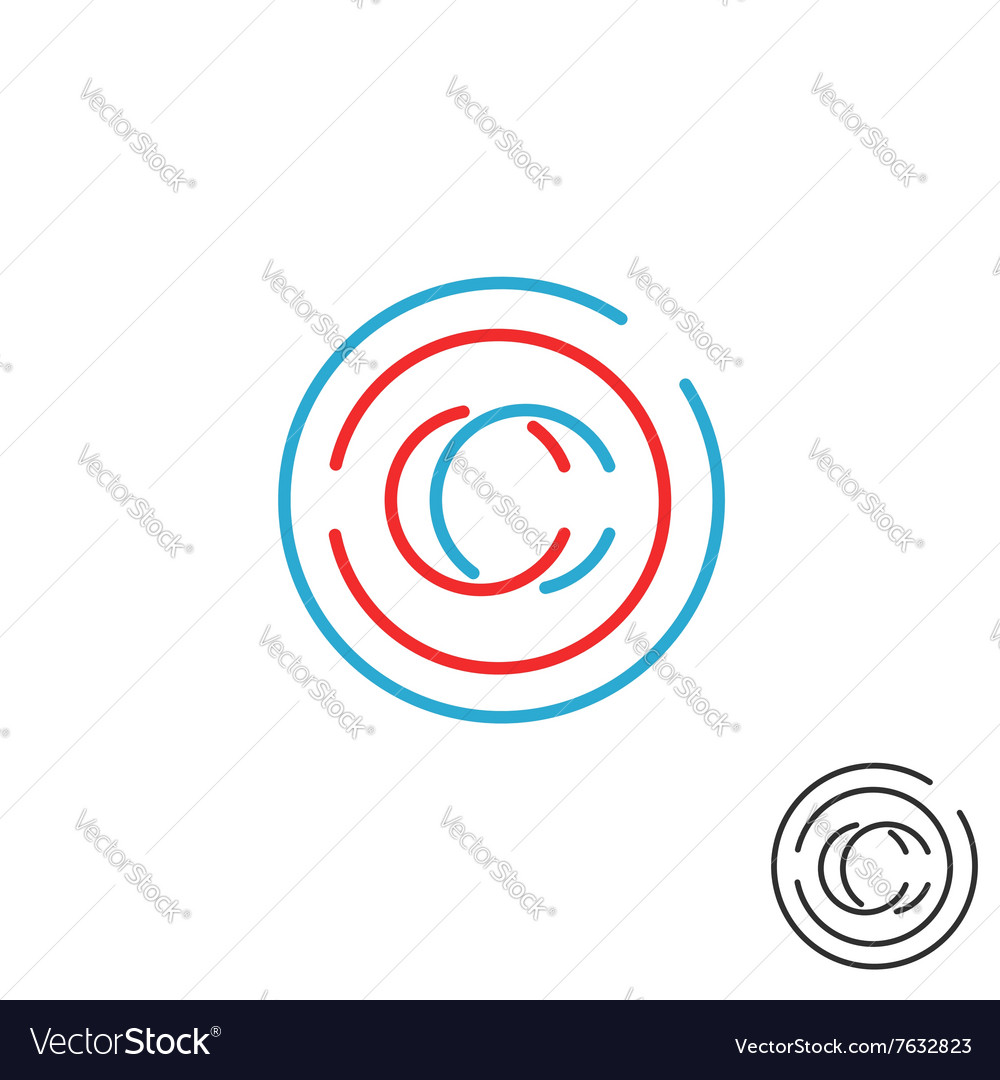 C letter monogram logo circle intersection line vector image