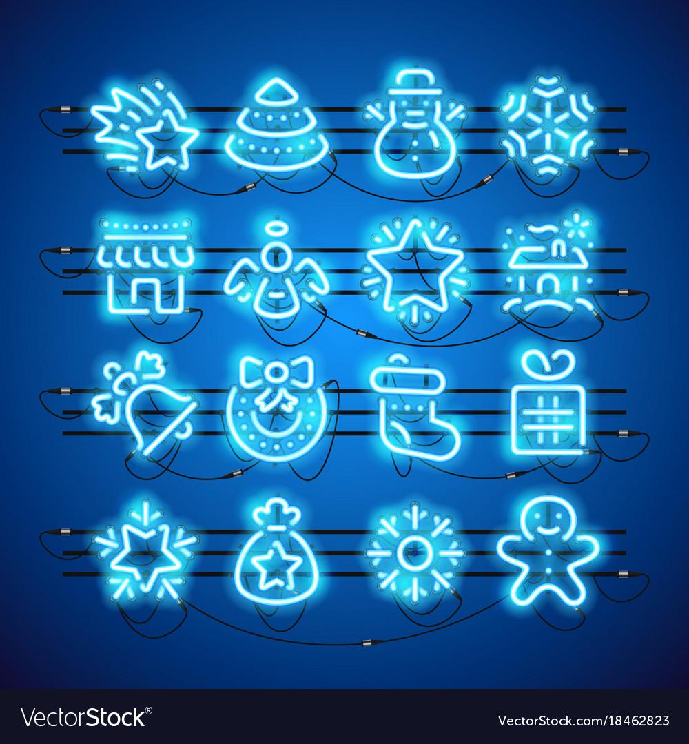 Christmas neon icons blue