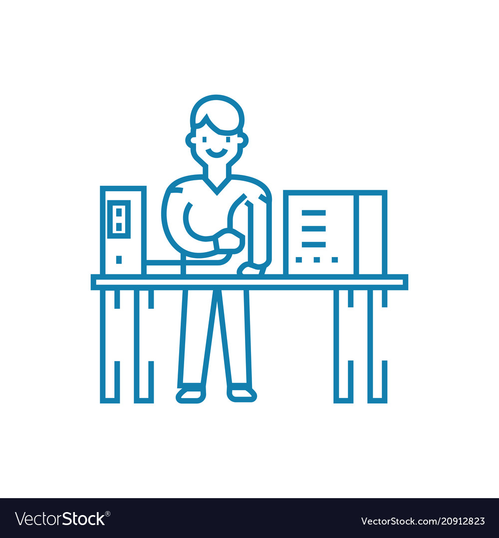 Computer repair linear icon concept computer