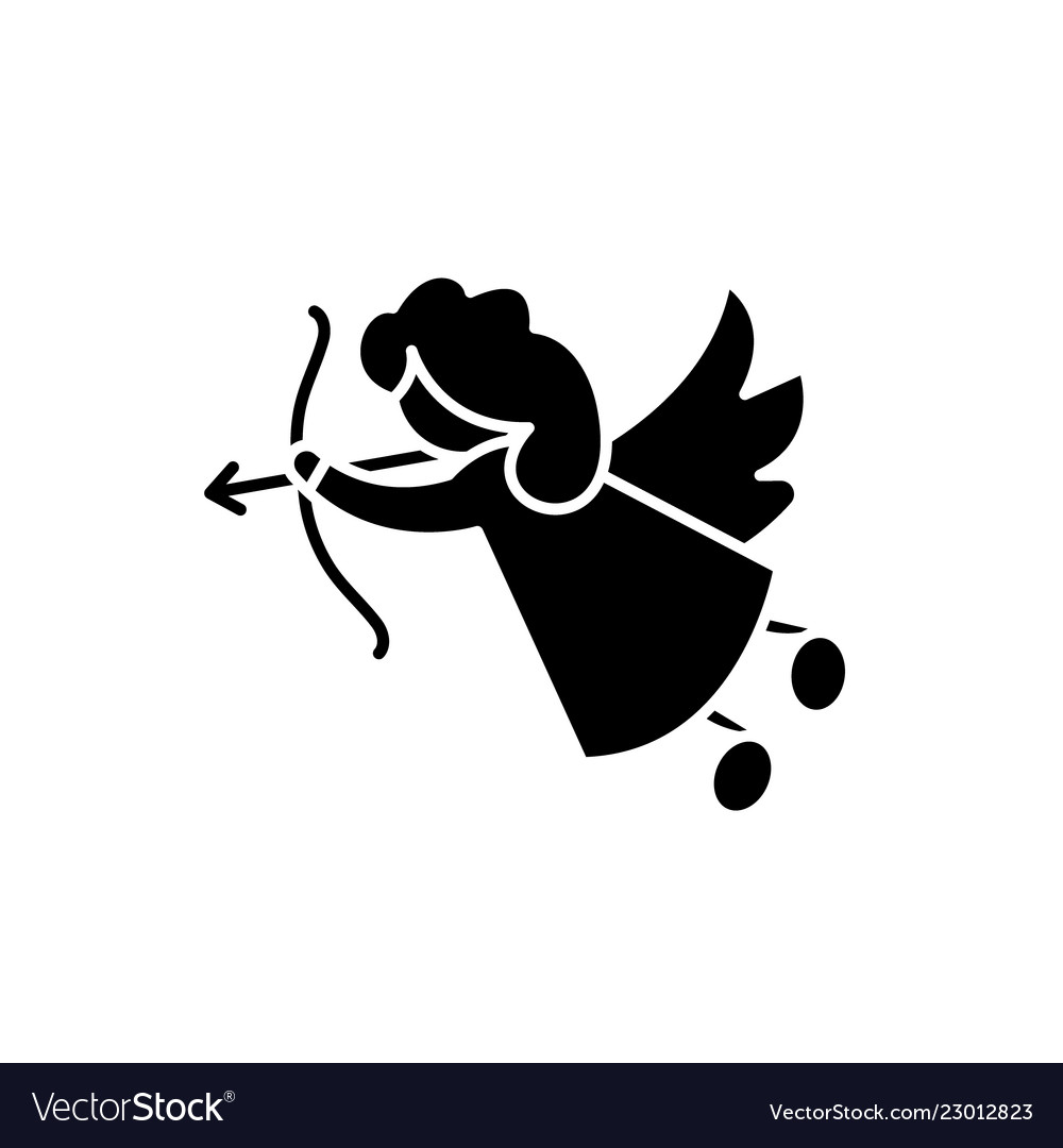 Cupid black icon sign on isolated