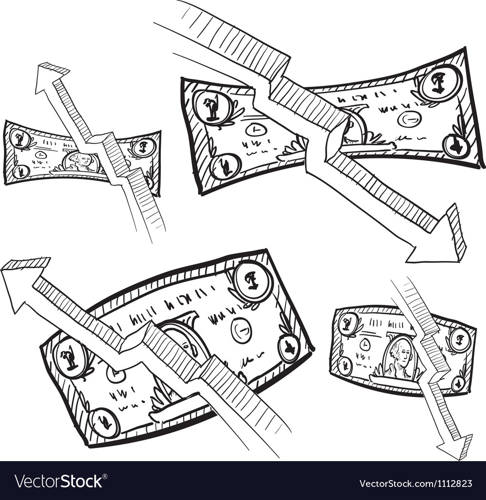 Doodle money inflation vector image
