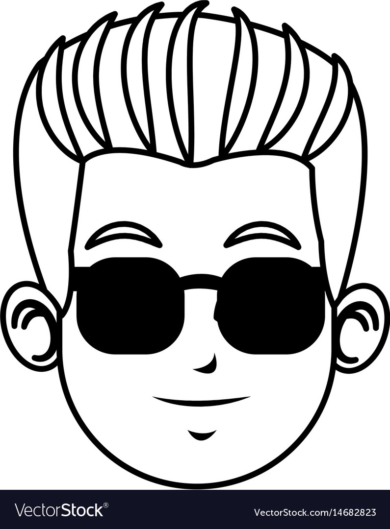 Face young man character with sunglasses line