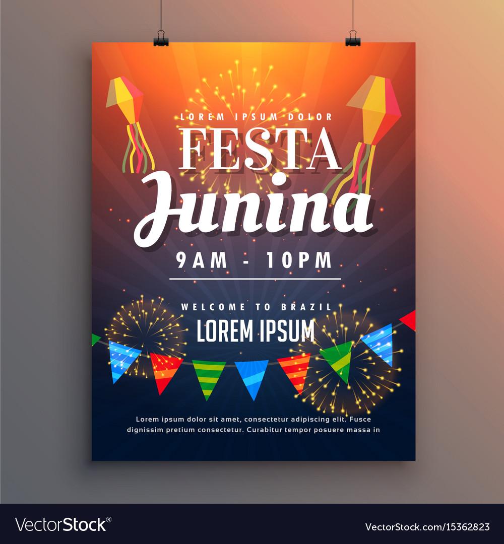 Festa Junina Party Invitation Flyer Design With Vector Image