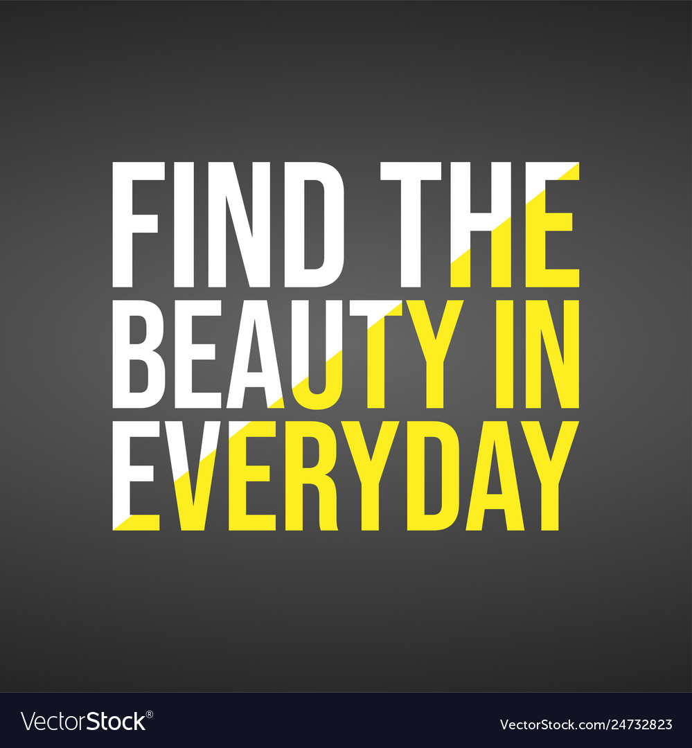 find the beauty in everyday life quote vector image